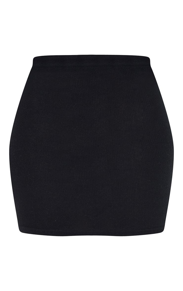 Black Soft Brushed Rib Mini Skirt 6