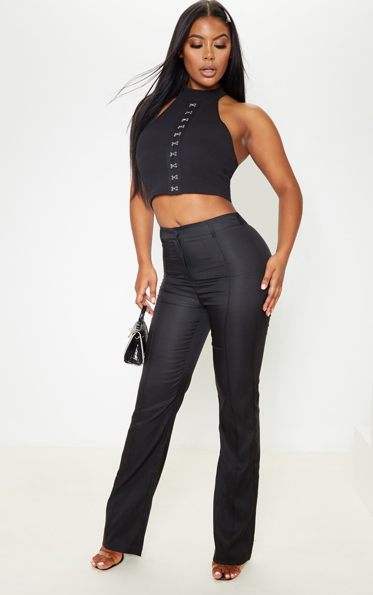 Black Crepe Hook and Eye Racer Crop Top 4