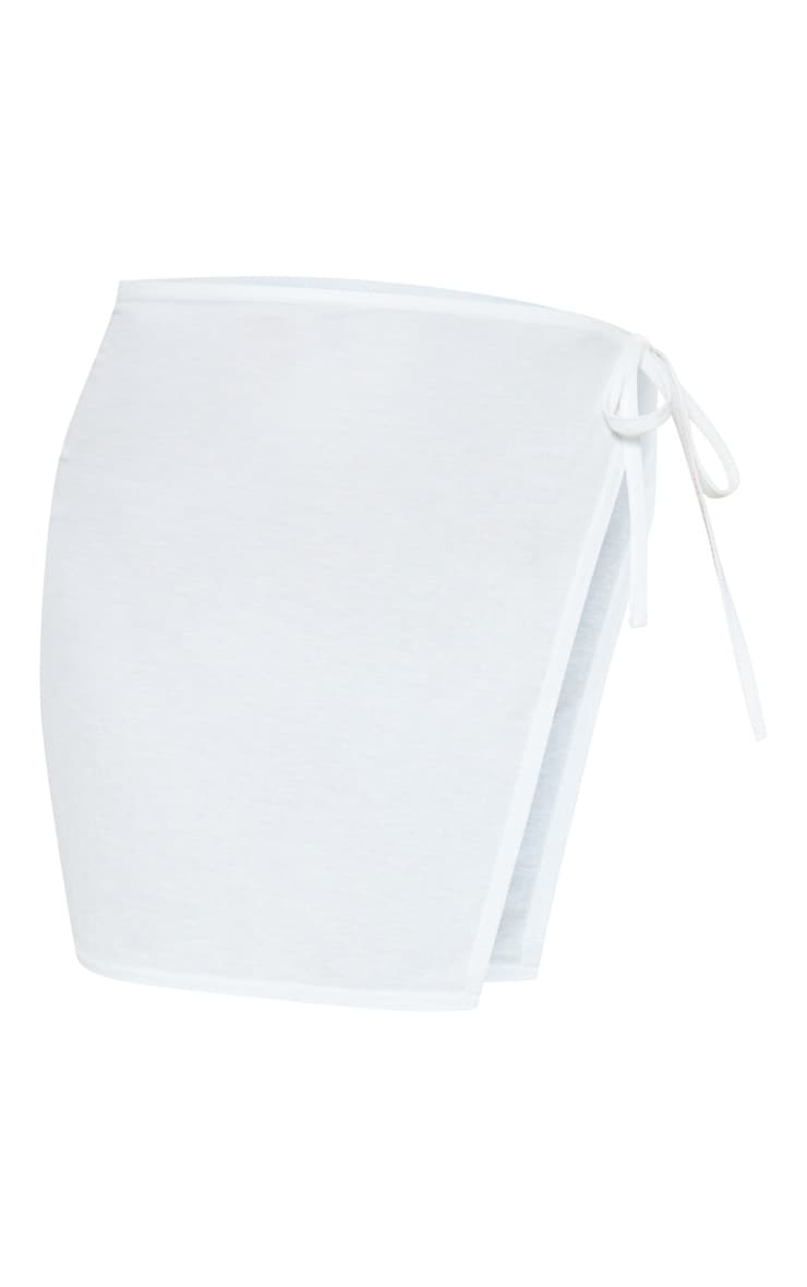 White Mini Cotton Look Sarong 7
