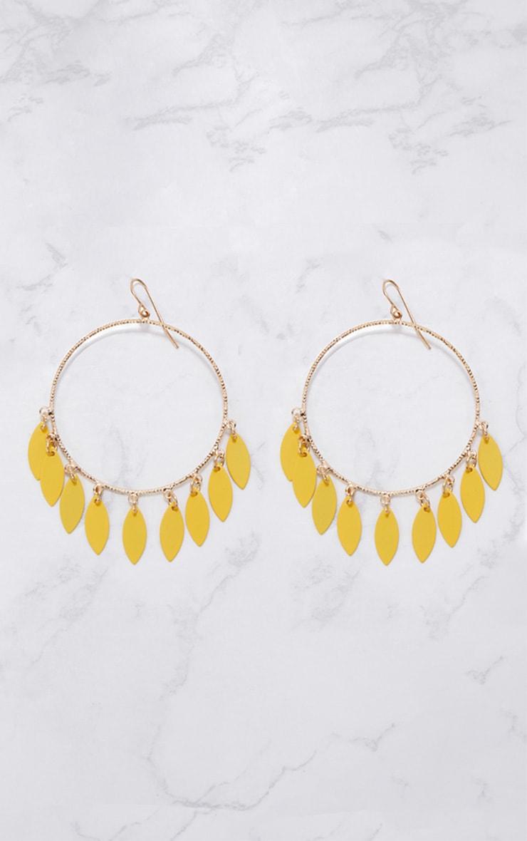 Yellow Teardrop Hoop Earrings 3