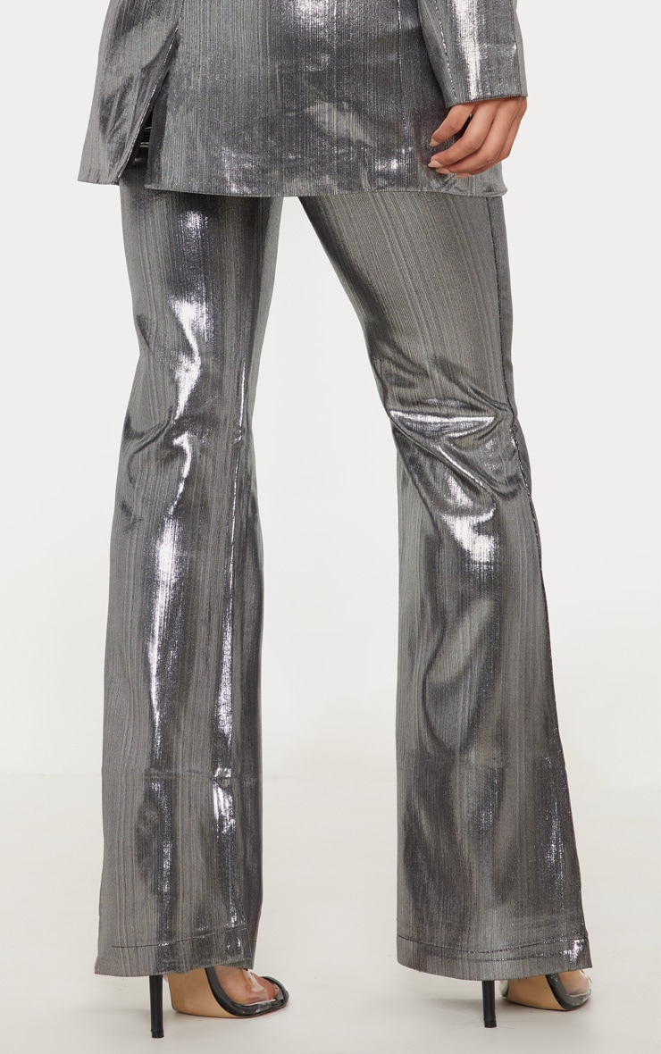 Silver Metallic Straight Leg Trouser  4