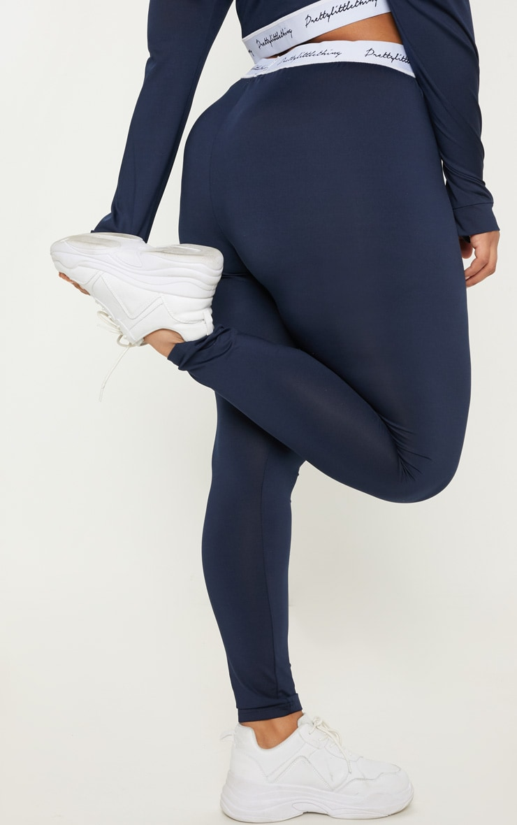 PRETTYLITTLETHING Plus Navy Elasticated Band Leggings 4