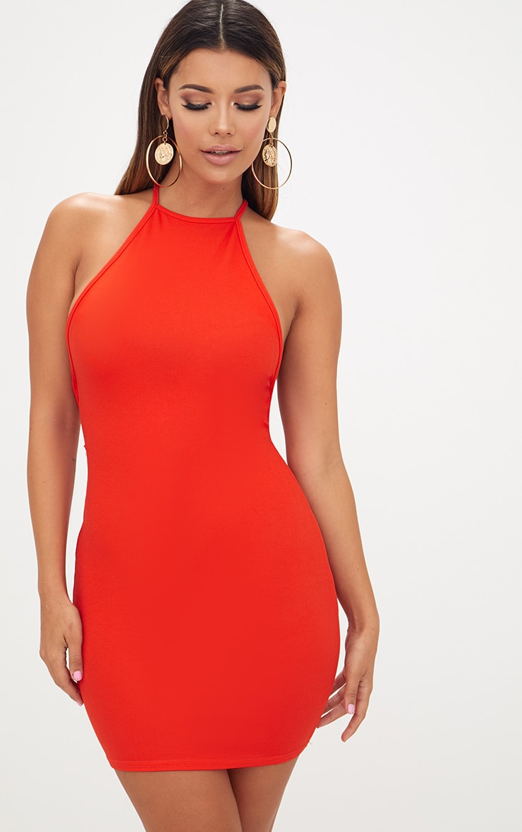 Tomato Red High Straight Neck Strappy Back Bodycon Dress 2