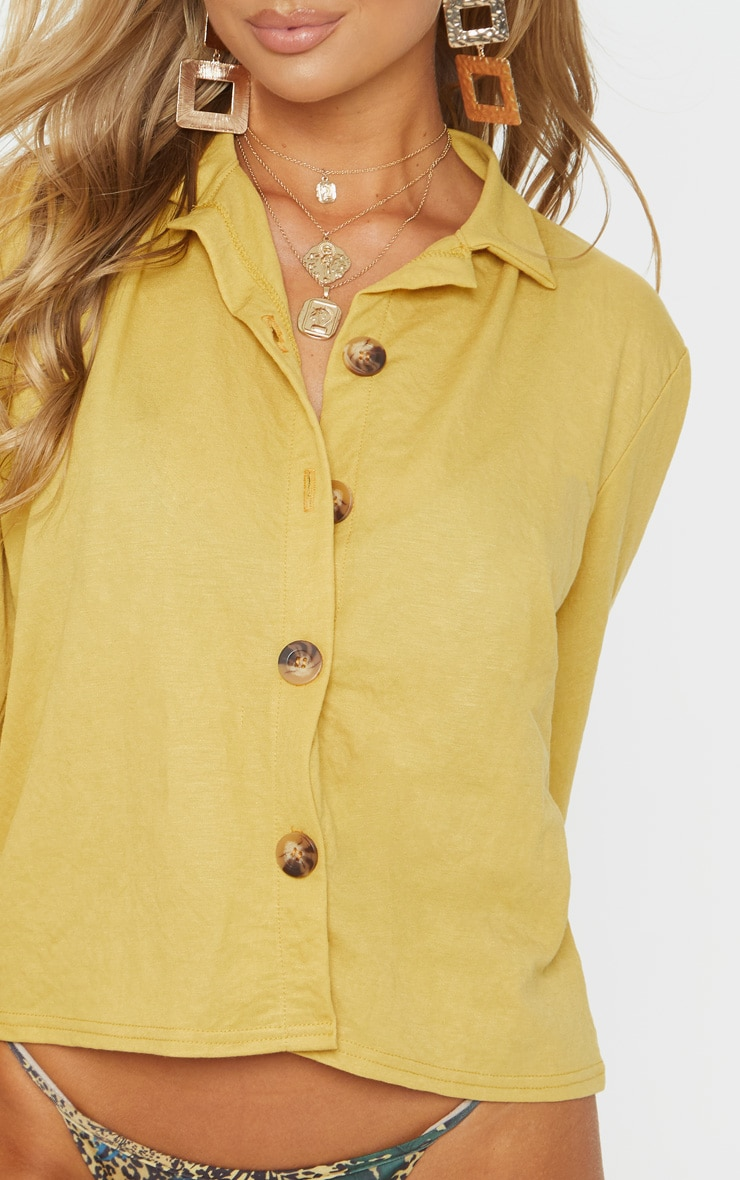 Mustard Balloon Sleeve Crop Shirt  5
