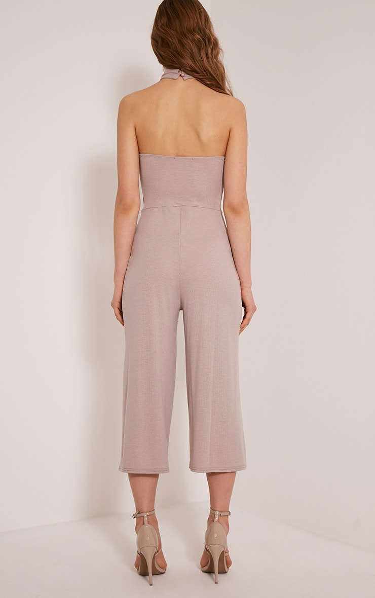 Marcie Taupe High Neck Low Back Culotte Jumpsuit 2