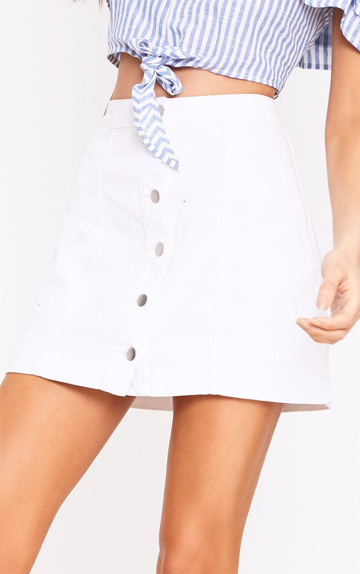 Cammie White Denim Mini Skirt  6