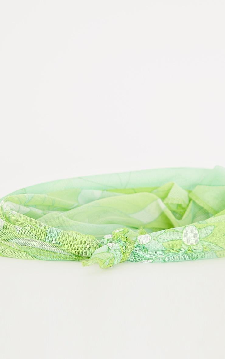 Bandana en mesh imprimé fleuri vert citron 2