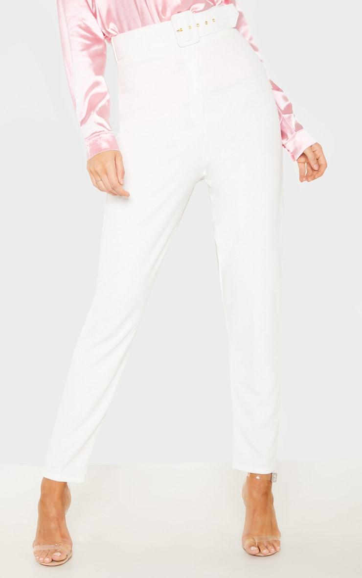 Tall White  High Waisted Belt Detail Trouser  2