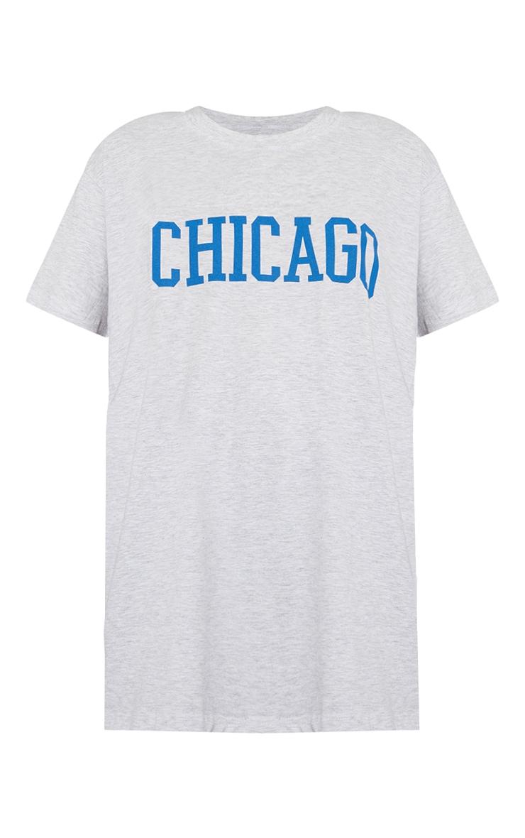 Ash Grey Chicago Slogan Oversized T Shirt 5