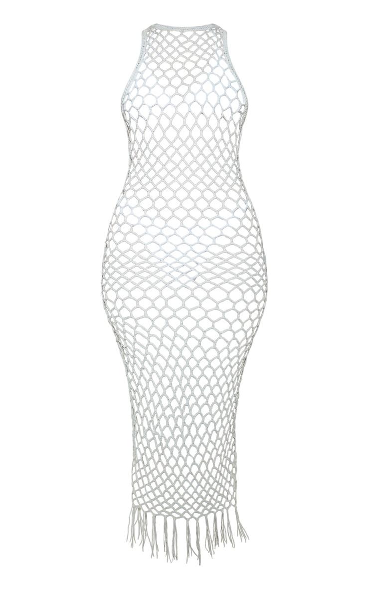 Cream Fringe Hem Crochet Maxi Dress 3