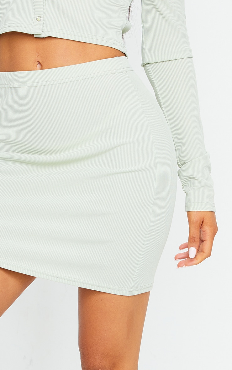 Sage Green Rib Popper Front Mini Skirt 5
