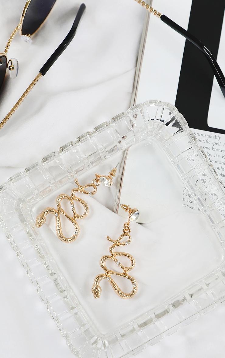 Gold Snake Diamante Drop Earrings 1