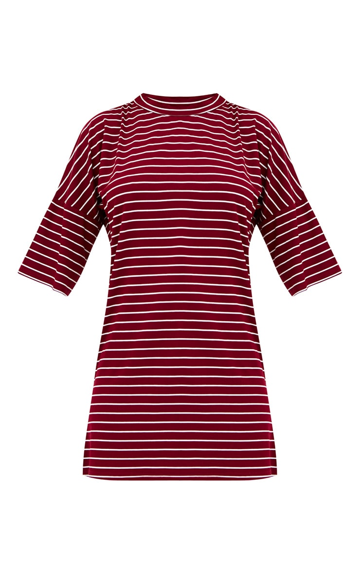 Burgundy Striped Oversized T Shirt Dress 3