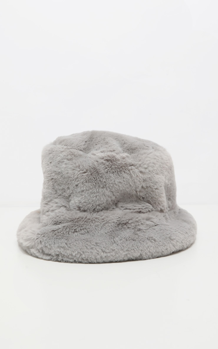 Grey Faux Fur Bucket Hat 2