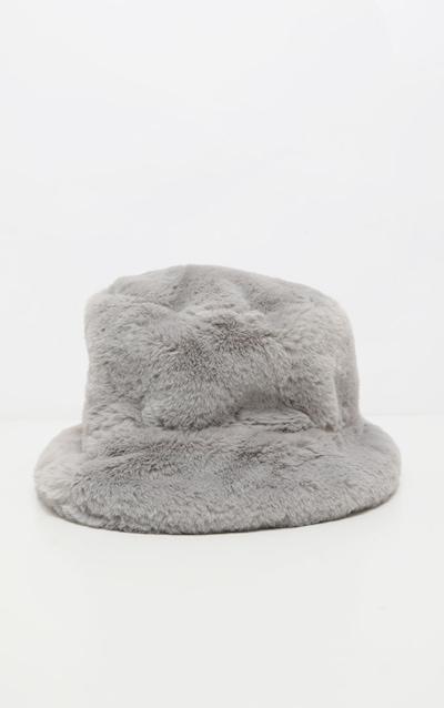 Grey Faux Fur Bucket Hat