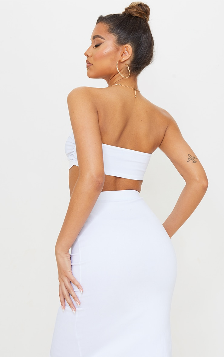 White Stretch Woven Front Ruched Bandeau Top 2