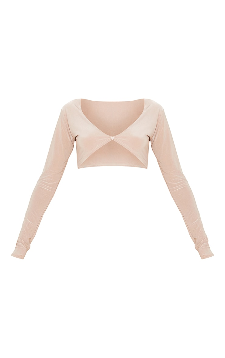 Stone Slinky Button Front Long Sleeve Crop Top 5