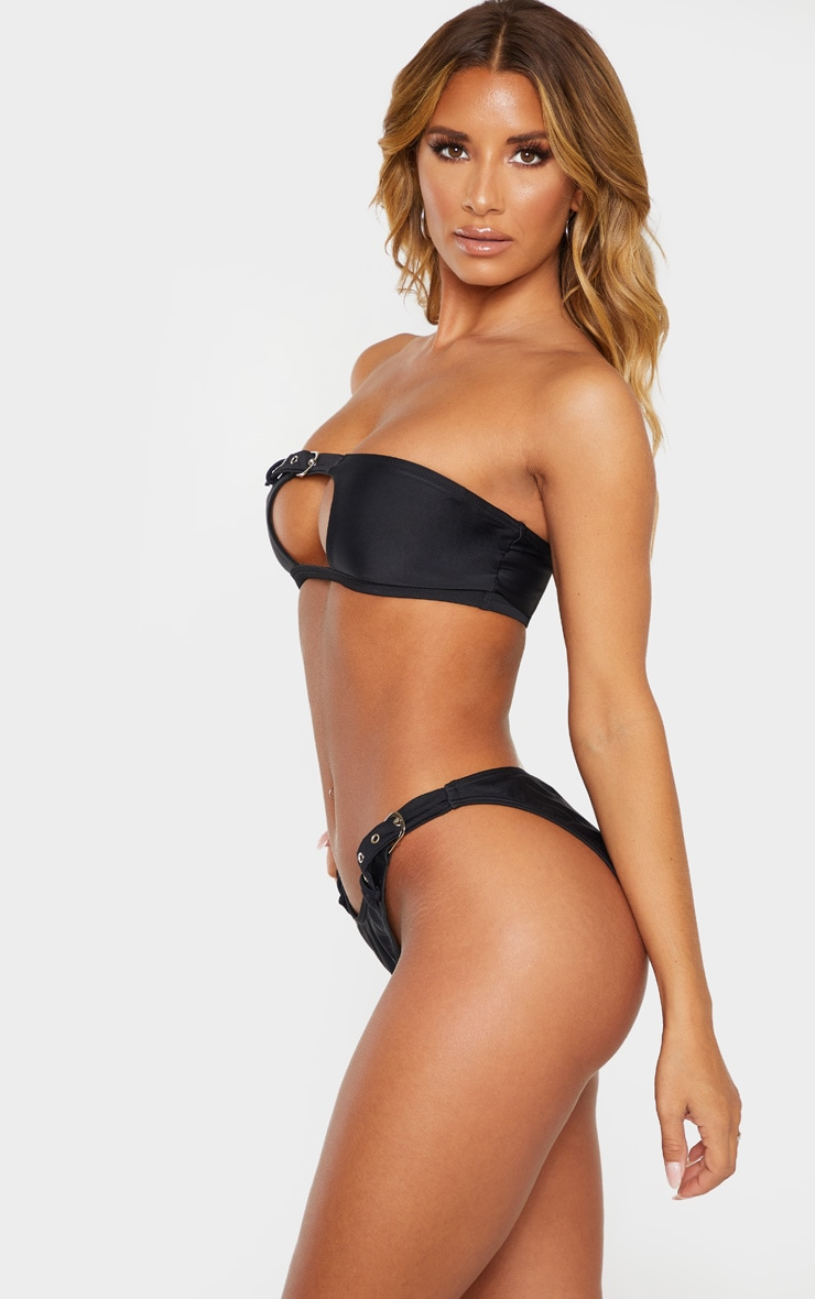 Black High Leg Double Belted Bikini Bottom 2
