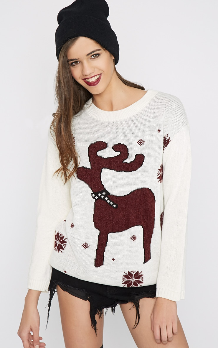 Noelle Cream Reindeer Jumper-One Size 1
