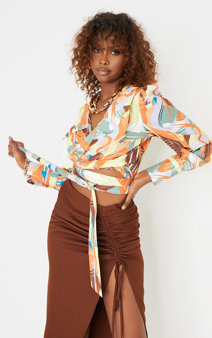 Multi  Abstract Face Print Satin Wrap Waist Long Sleeve Shirt 1