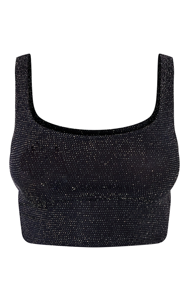 Black Textured Glitter Crop Top 5