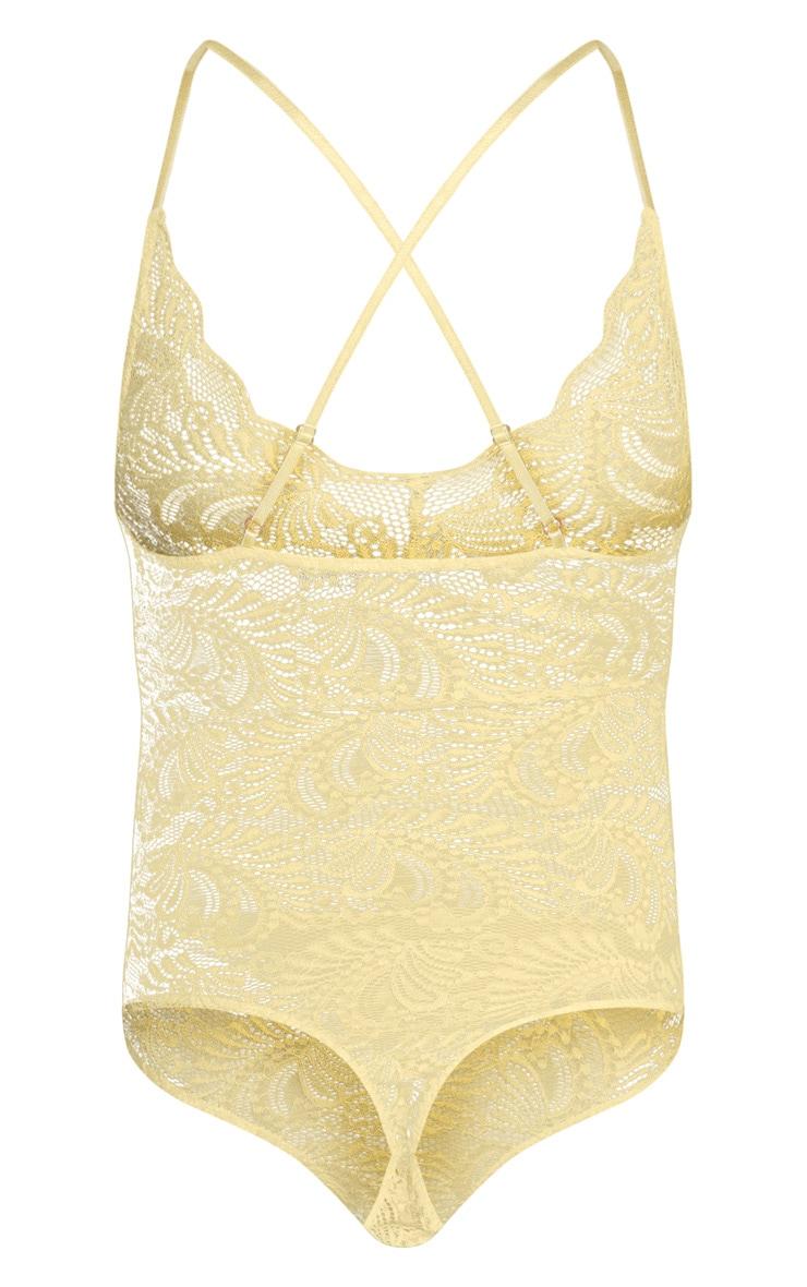 Lemon Sheer Lace Cross Back Bodysuit 4