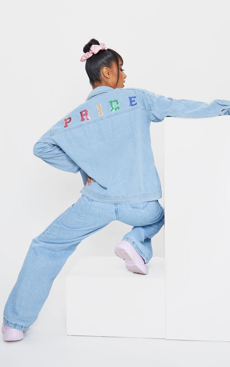 Mid Blue Wash Pride Sequin Embellished Denim Jacket 1