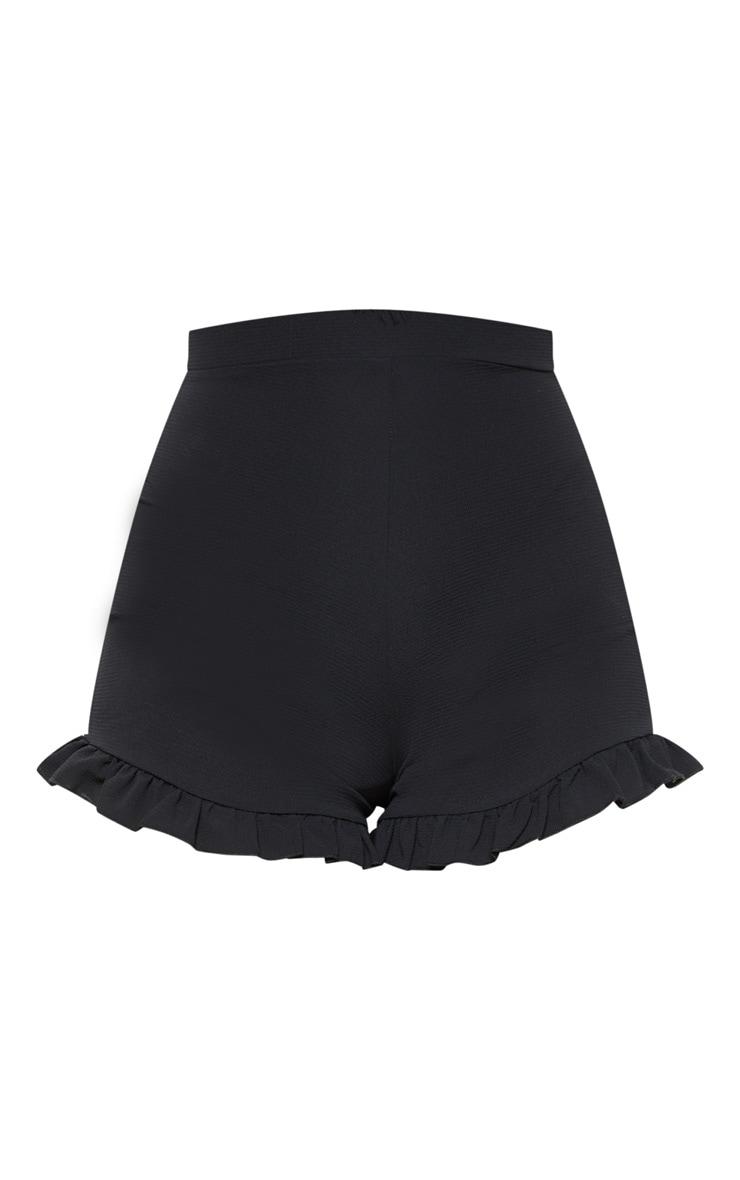 Black Woven Frill Hem Short  3