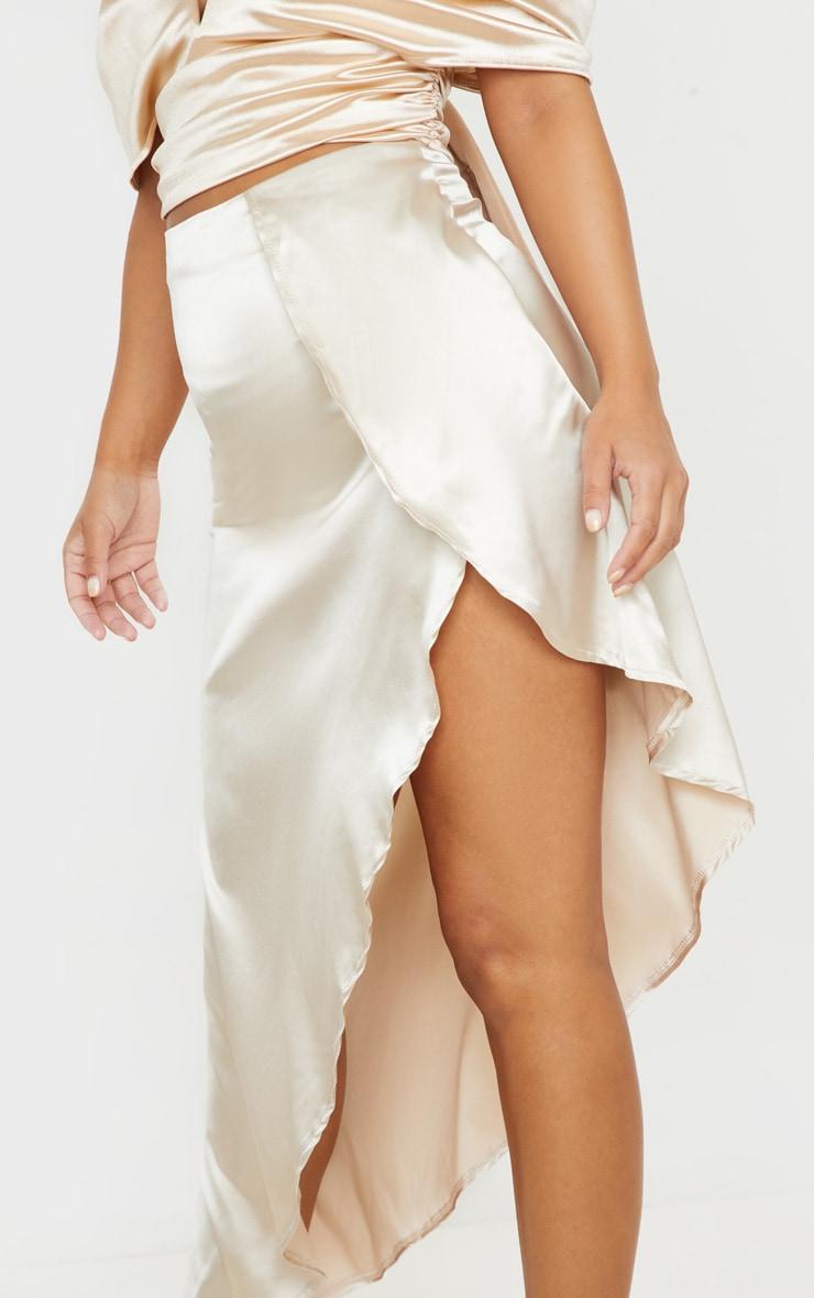 Petite Cream Satin Asymmetric Skirt 5