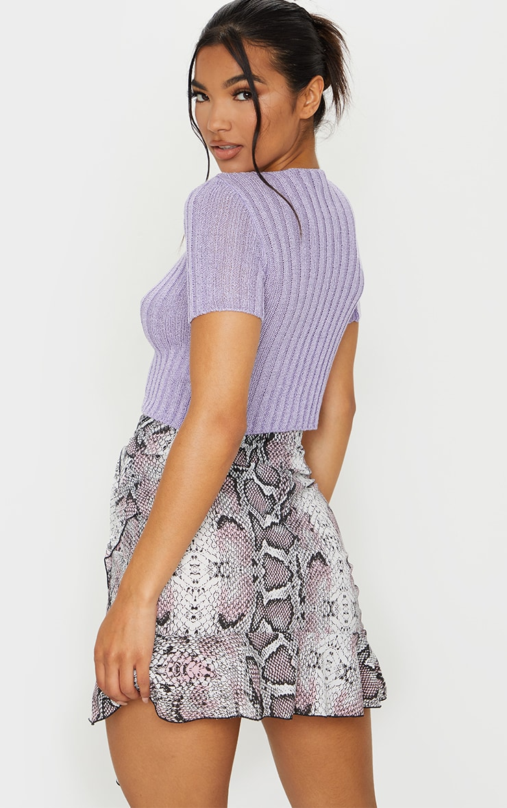 Lilac Short Sleeve Skinny Fit Cardigan 2