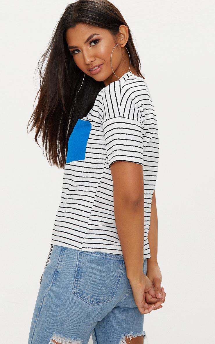 White Pocket Contrast Stripe T Shirt 2