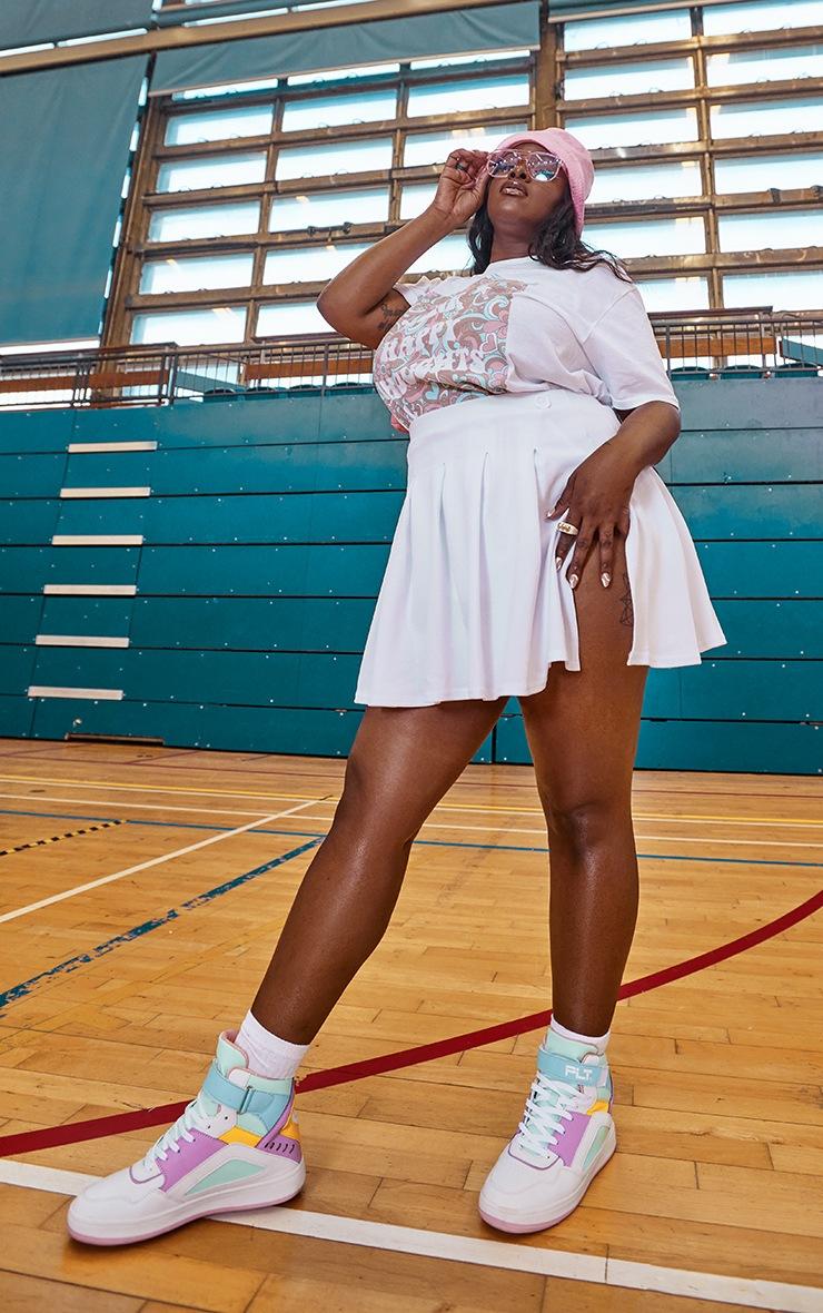 Plus White Pleated Side Split Tennis Skirt image 1