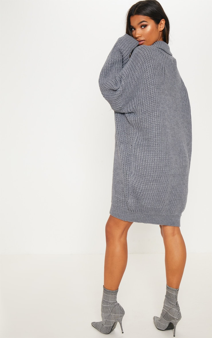 Grey Oversized High Neck Knitted Jumper Dress  2