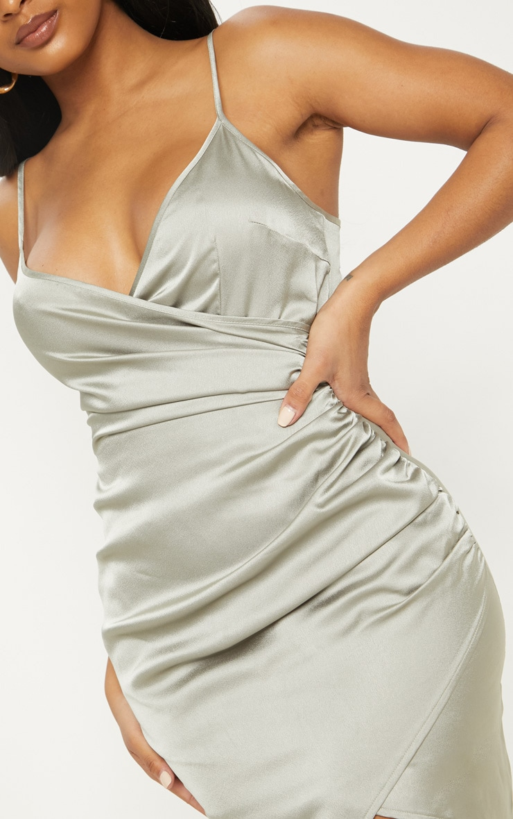Shape Sage Green Satin Wrap Dress 5