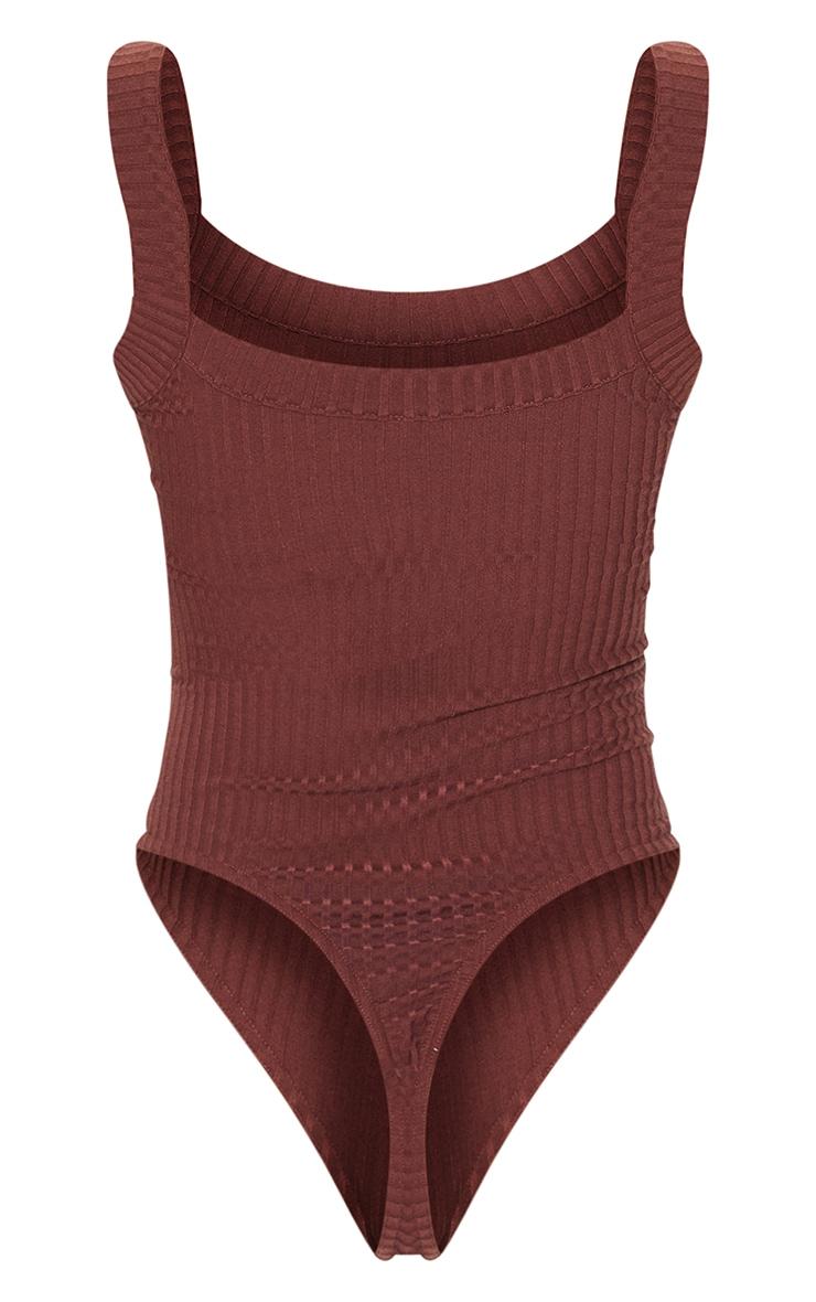 Chocolate Jumbo Rib Thick Strap Sleeveless Bodysuit 6