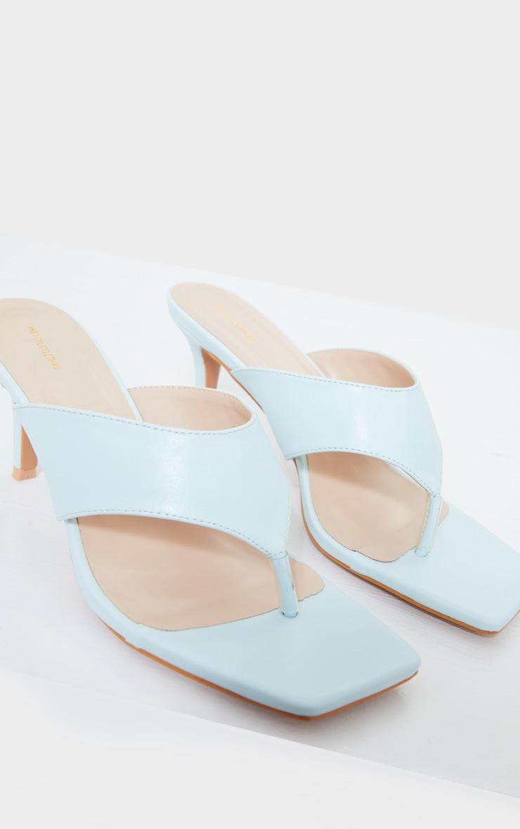 Blue Square Toe Thong Mule Heels 4