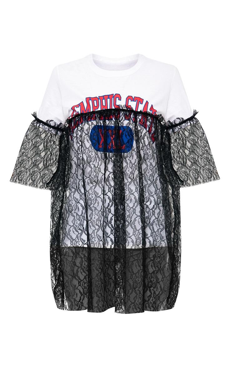 Memphis State Slogan White Lace Trim Oversized T Shirt 3
