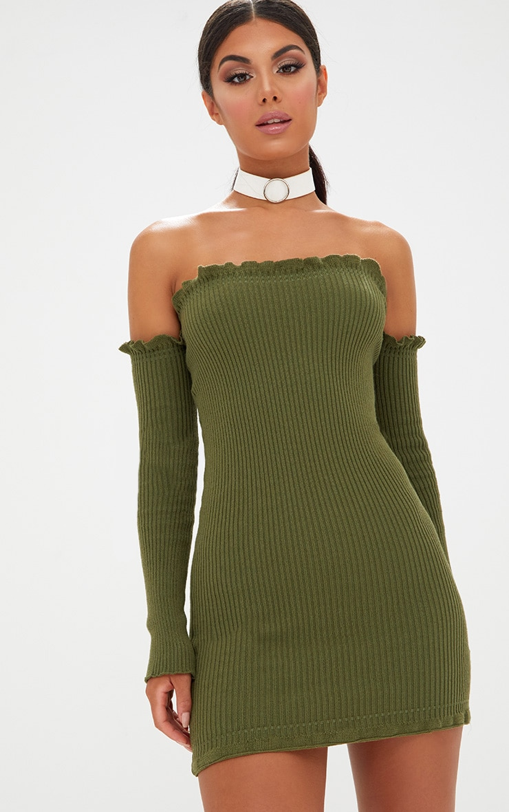 Khaki Ruffle Detail Knit Bardot Long Sleeve Mini Dress 1