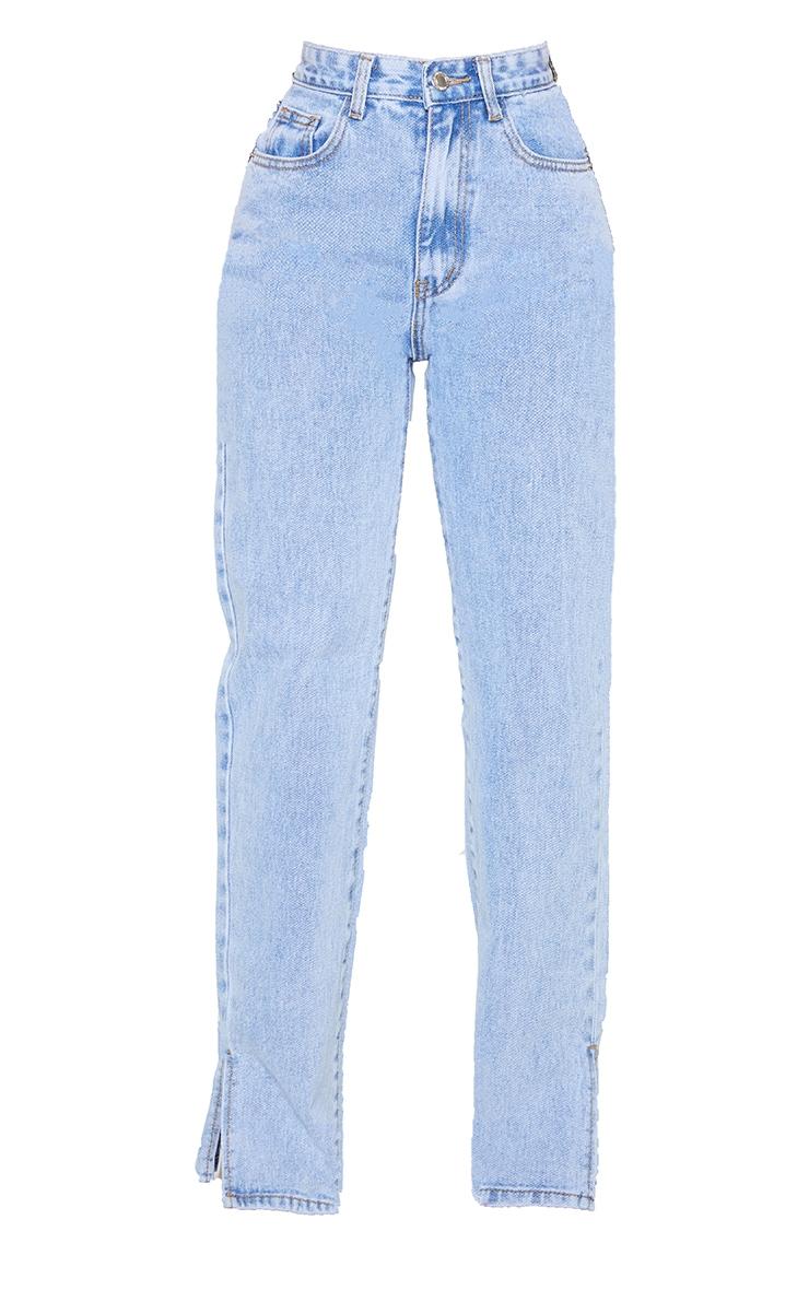 Petite Bleach Wash Split Hem Jeans 5