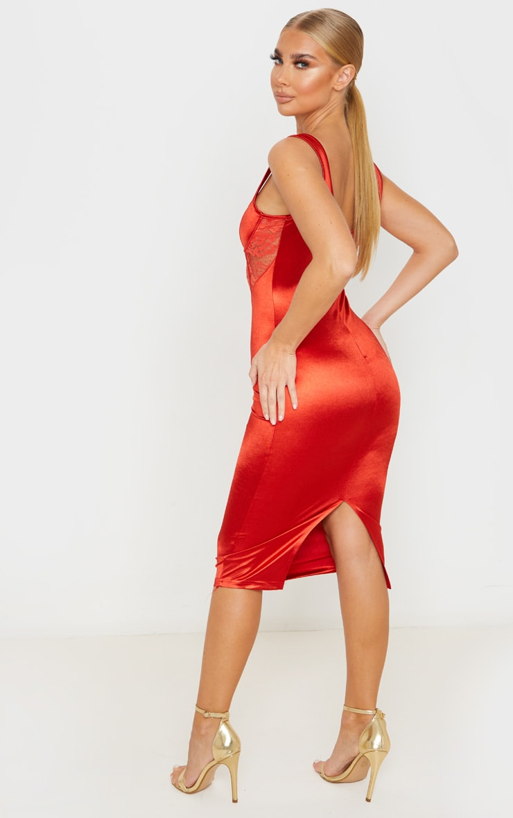Red Satin Bustier Lace Insert Midi Dress 2