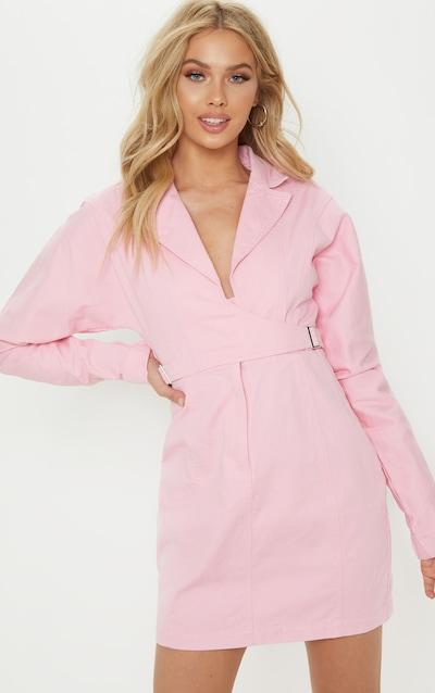 fc8605215a Dusty Pink Side Buckle Long Sleeve Denim Dress