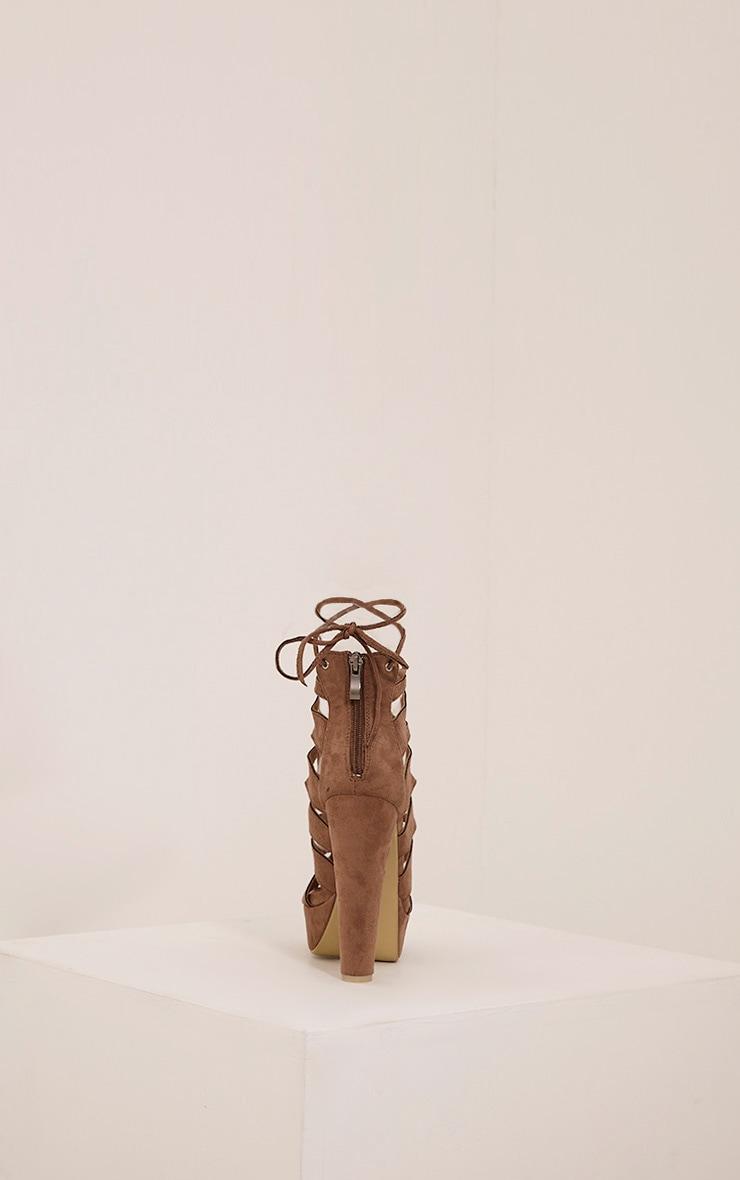 Vivianna Mocha Lace Up Platform Heels 7