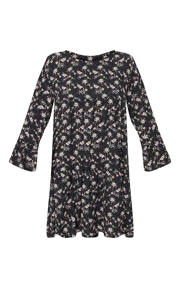 Petite Black Ditsy Floral Smock Dress 3