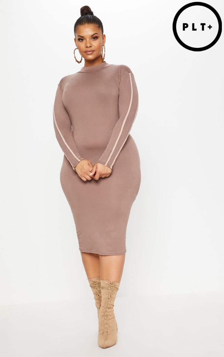 Plus Dark Mauve Sports Stripe Midi Dress by Prettylittlething