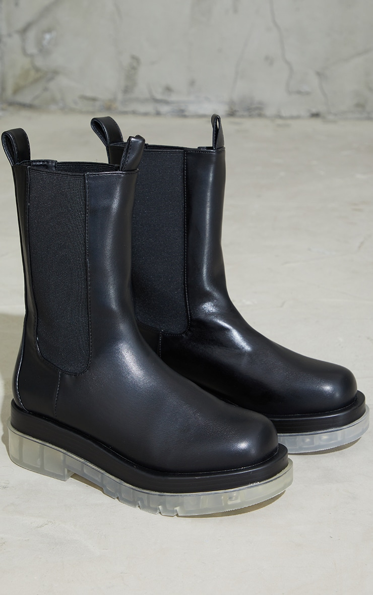 Black PU Contrast Clear Chunky Sole Chelsea Boots 3