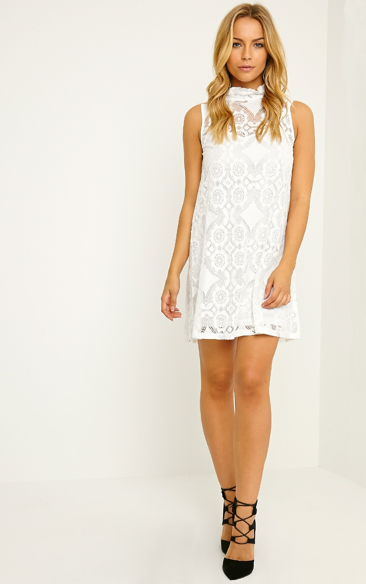 Kelsey White Lace Shift Dress 3