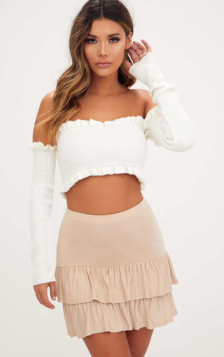 Stone Tiered Frill Jersey Mini Skirt 1