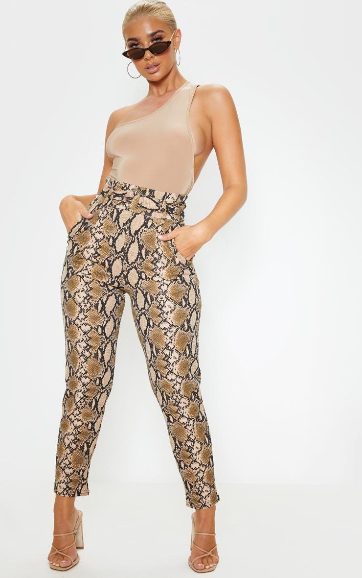 Tan Snake Print D Ring Belted Skinny Pants 1