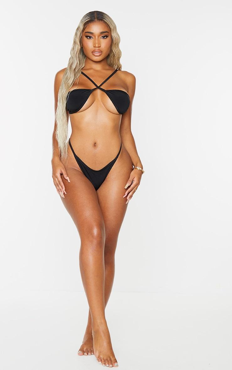 Shape Black Branded Diamante Thong Bikini Bottoms 1