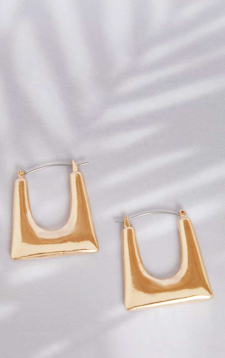 Gold Cut Out Square Hoop Earrings 2